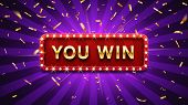 You Win Banner. Winner Congratulations Frame, Golden Win Congratulating Framed Sign And Winning Gold poster