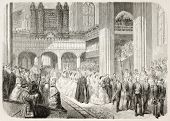 Prince of Wales wedding in Windsor chapel, old illustration (Edward VII and Alexandra of Denmark). B