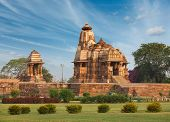 stock photo of mahadev  - Devi Jagdamba temple and mahadev mandapa on sunrise - JPG
