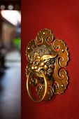 stock photo of pacific rim  - Doorknob of the Temple shaped as a jiaotu  - JPG