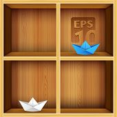 stock photo of book-shelf  - vector wooden shelves background - JPG