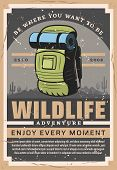 Camping Travel And Outdoor Hiking Adventure, Wild Nature Tourist Club. Vector Vintage Poster Of Moun poster