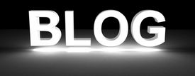 stock photo of blog icon  - blog section title made of 3D glowing white letters - JPG