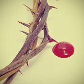 closeup of a representation of the crown of thorns and blood of Jesus Christ