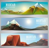 stock photo of polly  - Low polly Mountains  web banners - JPG