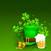 Saint Patrick's Day background or greeting card with Leprechaun Hat, gold coins, shamrocks and beer