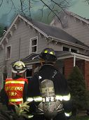 picture of fire insurance  - firemen at house fire with sky blackened by smoke - JPG