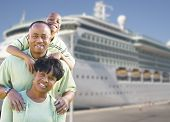 stock photo of passenger ship  - Happy African American Family in Front of Cruise Ship - JPG
