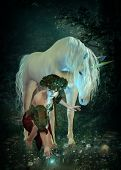 stock photo of unicorn  - a girl and a unicorn watching fireflies at a pond - JPG