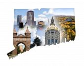 stock photo of iwo  - The state of Connecticut in a montage isolated over white - JPG