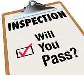 image of passed out  - The word Inspection on a checklist attached to a clipboard - JPG