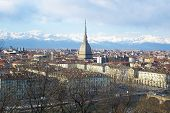stock photo of turin  - Turin panorama seen from the hill - JPG