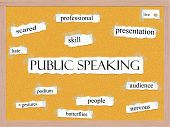 stock photo of pegboard  - Public Speaking Corkboard Word Concept with great terms such as scared skill live podium and more - JPG