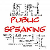 stock photo of public speaking  - Public Speaking Word Cloud Concept in red caps with great terms such as business slide deck podium nervous and more - JPG