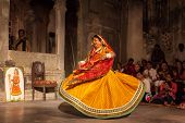 UDAIPUR, INDIA - NOVEMBER 24: Bhavai performance - famous folk dance of Rajasthan state of India. Pe