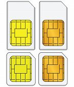 foto of micro-sim  - Regular and mini SIM cards for use in mobile communications - JPG