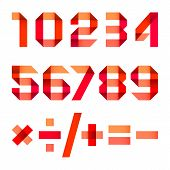 pic of arabic numerals  - Spectral letters folded of paper red ribbon  - JPG
