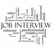 picture of polite  - Job Interview Word Cloud Concept in black and white with great terms such as suit education resume degree hr and more - JPG