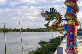 foto of hangul  - Colourful dragon sculptures of Chinese ancient history at Chachoengsao Thailand - JPG
