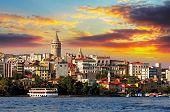 stock photo of historical ship  - Istanbul at sunset  - JPG
