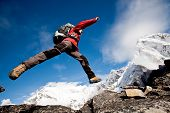 stock photo of recreation  - Hiking in Himalaya mountains in Everest region
