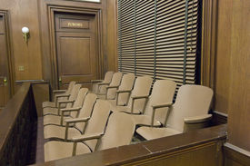 stock photo of jury  - Side view of a empty jury box in the courthouse - JPG