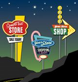 stock photo of 1950s  - vintage retro marquis lighted signs - JPG