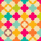 stock photo of rosettes  - Vintage medieval rosette seamless pattern - JPG