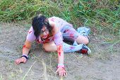 picture of gruesome  - Bloody woman with a ripped shirt wonders in a field - JPG