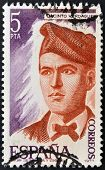 A stamp printed in Spain shows Jacinto Verdaguer