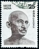 stamp printed in India shows Mahatma Gandhi