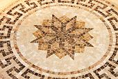 image of octagon shape  - Marble floor mosaic with octagonal star shape - JPG