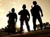 foto of anti-terrorism  - Silhouettes of S - JPG