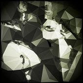 foto of triangular pyramids  - Low Polygonal Paper Faces - JPG