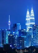 stock photo of klcc  - Kuala Lumpur skyline at night - JPG