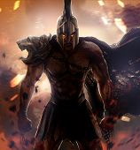 picture of angry  - Angry unchained spartan warrior with ancient armor - JPG