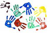 image of dna fingerprinting  - Detail different colored hand - JPG