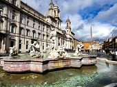 image of poseidon  - Poseidon fountain Navona square in Rome Italy - JPG