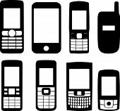 foto of mobile-phone  - Silhouettes of eight deferent mobile phones - JPG