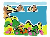 image of promontory  - illustration of a panoramic view of the Faraglioni of Capri - JPG
