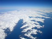 stock photo of arctic landscape  - aerial view of the coast of alaska - JPG