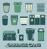 stock photo of landfill  - Collection of retro style garbage and recycling cans - JPG