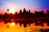 stock photo of hindu temple  - Angkor Wat sunrise at Siem Reap - JPG