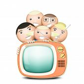 Retro TV and funny family