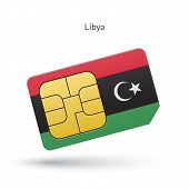 picture of libya  - Libya mobile phone sim card with flag - JPG