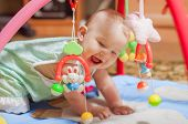 stock photo of stuffed animals  - little baby playing with toys at home - JPG