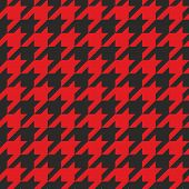Houndstooth vector seamless black and red pattern. Traditional Scottish plaid fabric for wallpaper