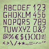 picture of punctuation  - HAND DRAWN FONT for seasonal posters or other works on vintage green background - JPG