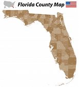 stock photo of collier  - A large detailed and colored map of the State of Florida with all counties and main cities - JPG