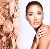 picture of face-powder  - Model face of beautiful woman with foundation on skin make - JPG